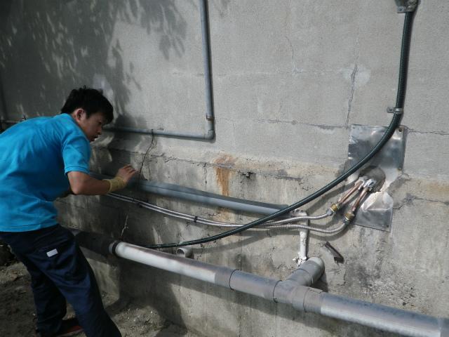 ガスふろ給湯器新設工事 保温材